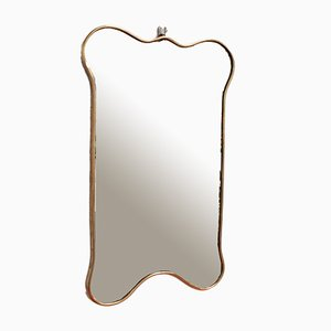 Italian Brass Framed Mirror, 1950s
