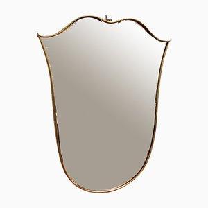 Italian Tulip-Shaped Brass Framed Mirror, 1950s