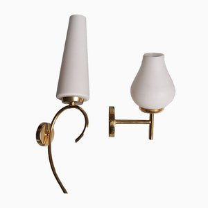 French Brass and Opal Glass Sconces, 1960s, Set of 2