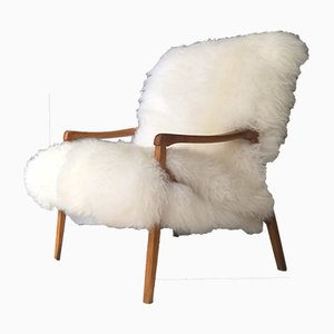 Bentwood and White Sheepskin Armchair from TON, 1960s
