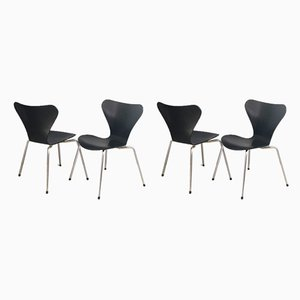 Series 7 Dining Chairs by Arne Jacobsen for Fritz Hansen, 1970s, Set of 4