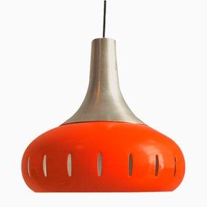 Lámpara colgante de metal naranja, años 60