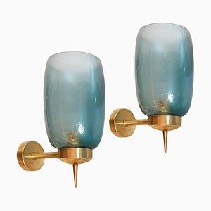 Apliques de cristal de Murano azul de Seguso, años 70. Juego de 2