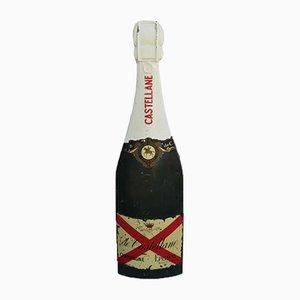 Französisches Schild aus Glasfaser in Champagnerflaschen-Optik, 1950er