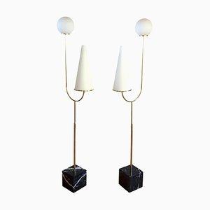 Lámparas de pie italianas de mármol, latón y vidrio, años 60. Juego de 2