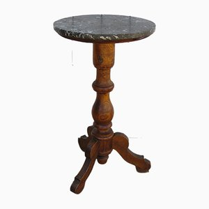 Antique French Oak and Marble Side Table