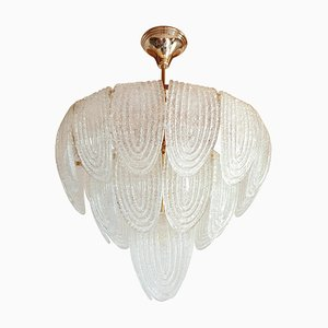 Lámpara de araña de vidrio y latón dorado de Mazzega, años 70