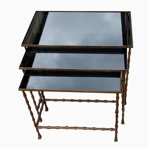 Black Opaline Glass House Rings Nesting Tables by Maison Bagues, 1970s