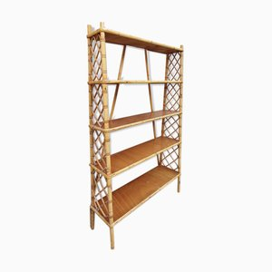Mid-Century Bamboo and Rattan Shelf by Louis Sognot