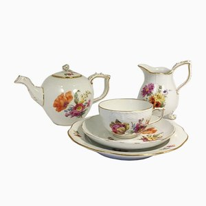 Antique German Porcelain Tea Set from KPM Berlin, Set of 12