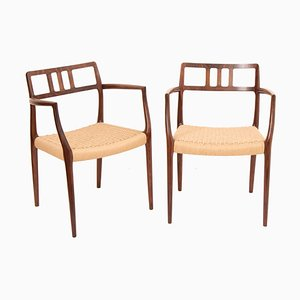 Model 64 Rosewood Carver Dining Chairs by Niels Otto Møller for J.L. Møllers, 1960s, Set of 2