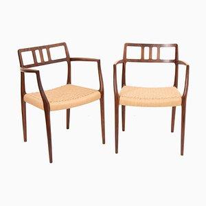 Modell 64 Esszimmerstühle aus Palisander von Niels Otto Møller für J.L. Møllers, 1960er, 2er Set
