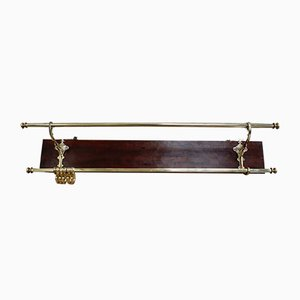 Antique French Mahogany and Brass Coat Rack