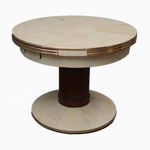 Mesa de comedor extensible redonda de fresno, latón y piel de cabra, años 20