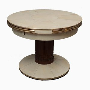 Round Ash, Brass, and Goatskin Extendable Dining Table, 1920s