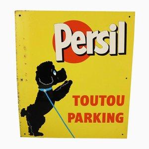 Cartel publicitario de Persil de metal de Villeneuve Saint Georges, años 50