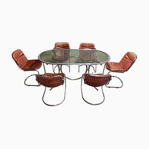 Juego de mesa y sillas de comedor de Gastone Rinaldi para Rima, años 70. Juego de 7