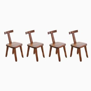 Model T Elm Side Chairs by Olavi Hänninen for Mikko Nupponen, 1950s, Set of 4