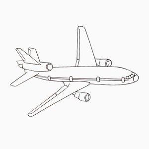 Flugzeug Wandskulptur aus Eisendraht, 1960er