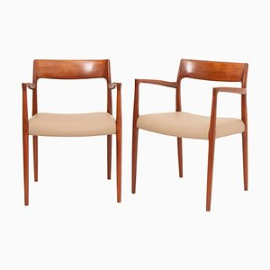 Model 57 Teak Carver Dining Chairs by Niels Otto Møller for J.L. Møllers, 1950s, Set of 2