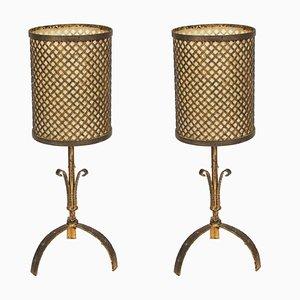 Lampes de Bureau en Métal Doré, 1960s, Set de 2