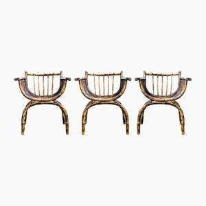 Rattan Armchairs, 1920s, Set of 3