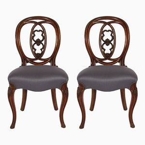 Antike Esszimmerstühle mit Gestell aus Mahagoni, 2er Set