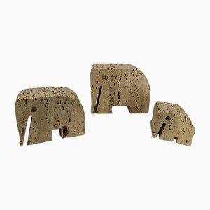Esculturas de elefante de travertino de Angelo Mangiarotti & Enzo Mari, años 70. Juego de 3