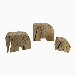 Sculture Elephant in travertino di Angelo Mangiarotti e Enzo Mari, anni '70, set di 3