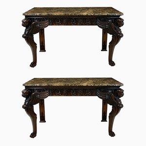 Konsolentische mit Gestell aus Holz & Marmorplatte, 1920er, 2er Set
