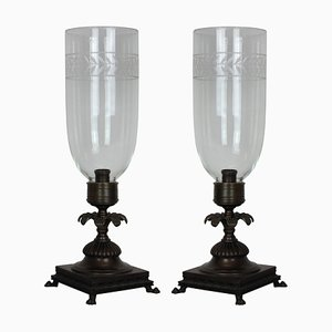 Lámparas de mesa de bronce y vidrio, años 30. Juego de 2