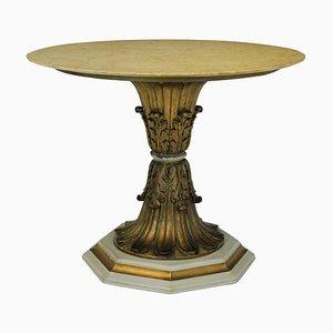 Mesa de comedor italiana de madera, mármol y oro, años 40