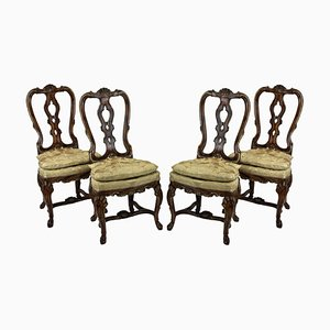 Antique Faux Walnut Dining Chairs, Set of 4