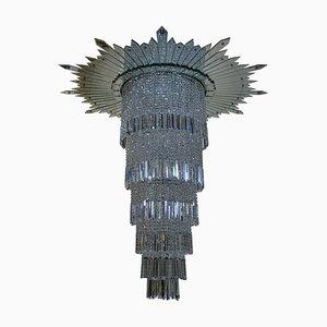 Lámpara de araña de vidrio tallado, años 30