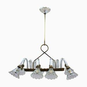 Lámpara de araña italiana de vidrio y latón de Barovier & Toso, años 50