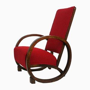 Sedia a dondolo Art Déco vintage rossa