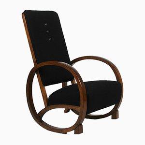 Rocking Chair Art Déco Vintage Noir, 1920s