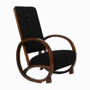 Vintage Art Deco Black Rocking Chair, 1920s