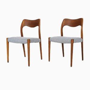 Esszimmerstühle aus Teak von Niels Otto Moller für J.L. Moller Models, 1960er, 2er Set