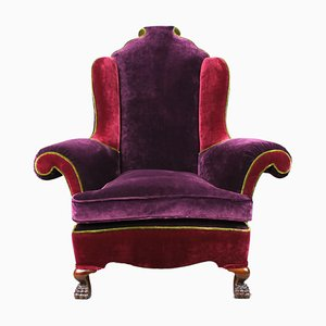 Large 19th-Century Queen Anne Style Wingback Armchair