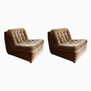 Italian Brown Modular Chairs, 1960s, Set of 2