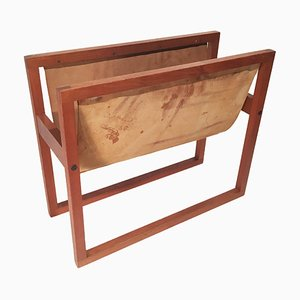 Danish Teak and Suede Magazine Rack, 1960s