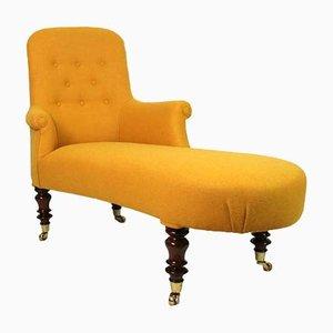 Antiker französischer Liegesessel mit gelbem Tweed-Bezug