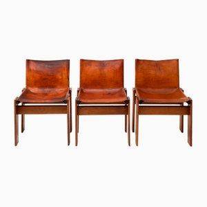 Cognacfarbene Esszimmerstühle mit Sitzfläche aus Leder von Tobia & Afra Scarpa für Molteni, 1970er, 3er Set