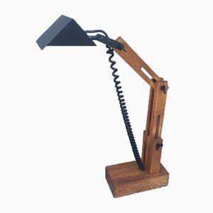 Tischlampe aus Eiche von Daniel Pigeon für Le Chêne Sauvage, 1970er
