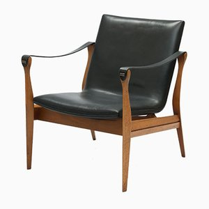 Vintage Danish Model 4305 Safari Armchair by Karen & Ebbe Clemmensen for Fritz Hansen, 1950s