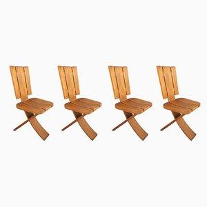 Sedie pieghevoli in olmo di Seltz, anni '60, set di 4
