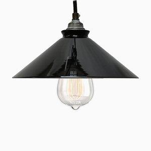 Lampe à Suspension Vintage en Verre Opalin Noir, France, 1950s