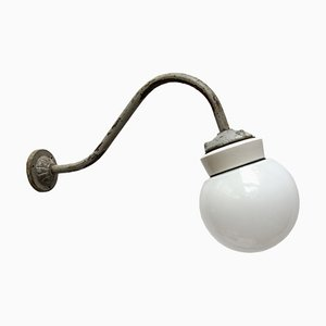 Vintage Industrial White Porcelain, Opaline Glass & Cast Iron Wall Light, 1950s
