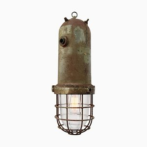 Vintage Industrial Cast Aluminum & Caged Glass Pendant Lamp, 1950s